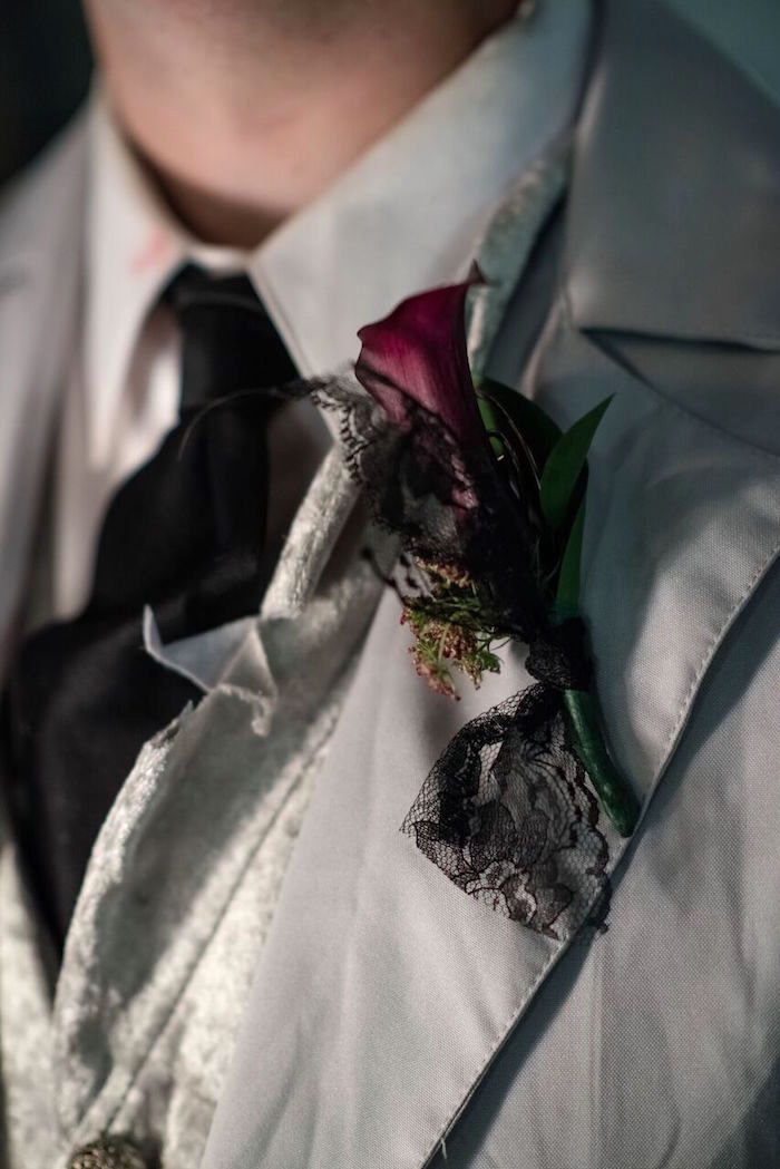 """Boutonniere from a Corpse Bride """"Vow-lloween"""" Wedding Anniversary Party on Kara's Party Ideas   KarasPartyIdeas.com (18)"""