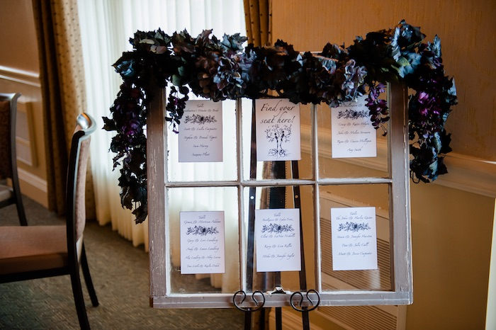 "Seating chart from a Corpse Bride ""Vow-lloween"" Wedding Anniversary Party on Kara's Party Ideas 