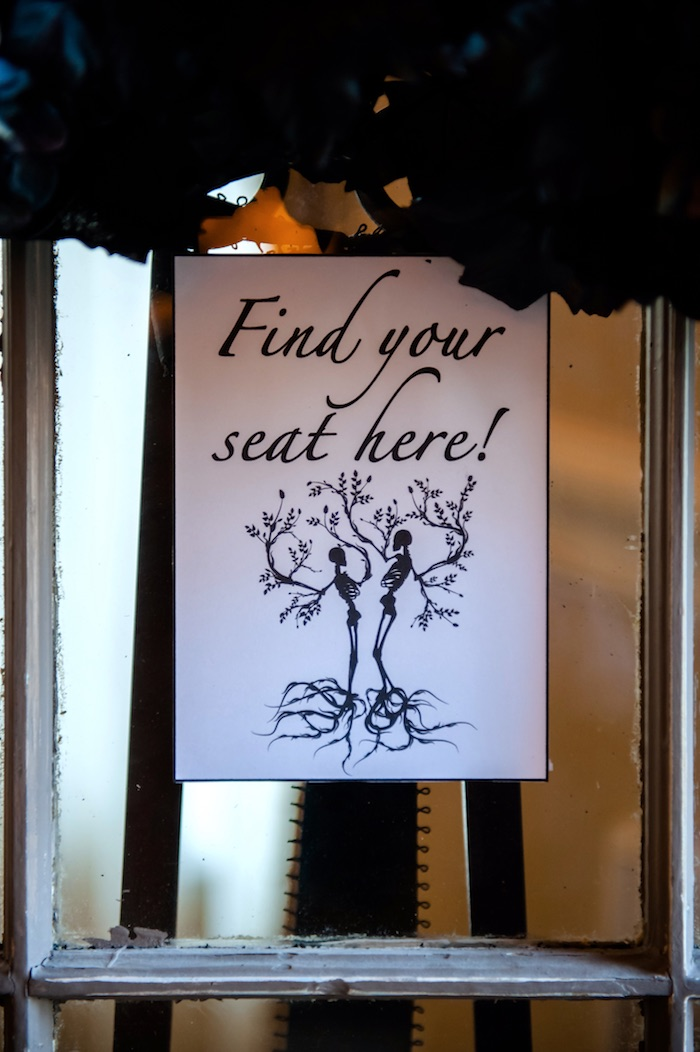 "Seating chart signage from a Corpse Bride ""Vow-lloween"" Wedding Anniversary Party on Kara's Party Ideas 