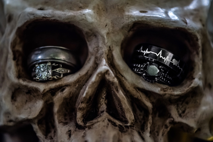 """Rings in skull eye sockets from a Corpse Bride """"Vow-lloween"""" Wedding Anniversary Party on Kara's Party Ideas   KarasPartyIdeas.com (9)"""