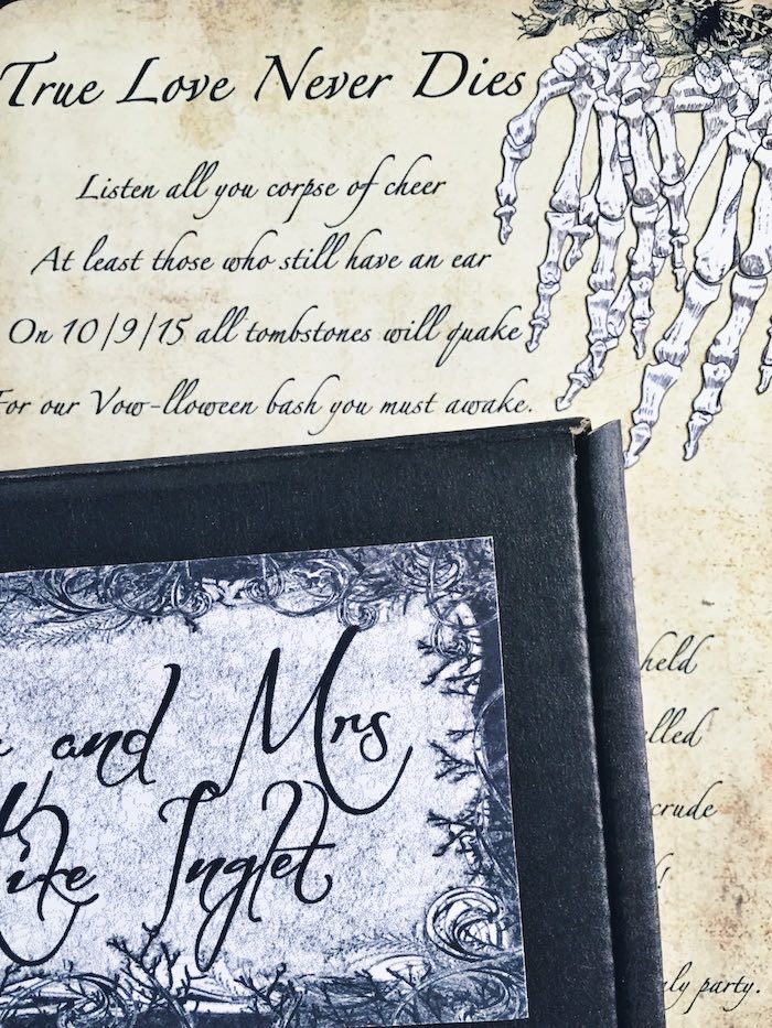 """Invitation from a Corpse Bride """"Vow-lloween"""" Wedding Anniversary Party on Kara's Party Ideas   KarasPartyIdeas.com (8)"""