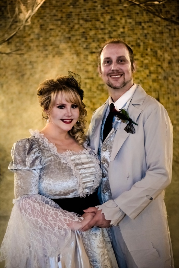 "Undead bride and groom from a Corpse Bride ""Vow-lloween"" Wedding Anniversary Party on Kara's Party Ideas 