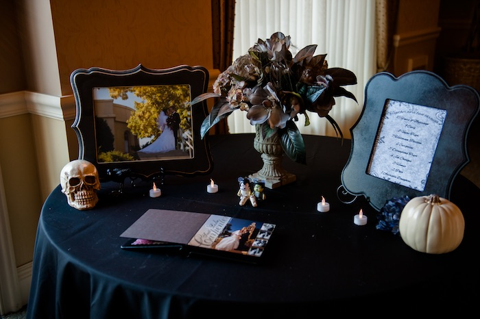 "Welcome table from a Corpse Bride ""Vow-lloween"" Wedding Anniversary Party on Kara's Party Ideas 