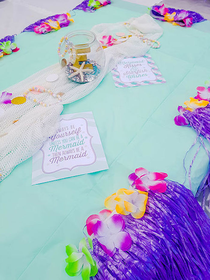 Guest table from a DIY Island Mermaid Birthday Party on Kara's Party Ideas | KarasPartyIdeas.com (10)
