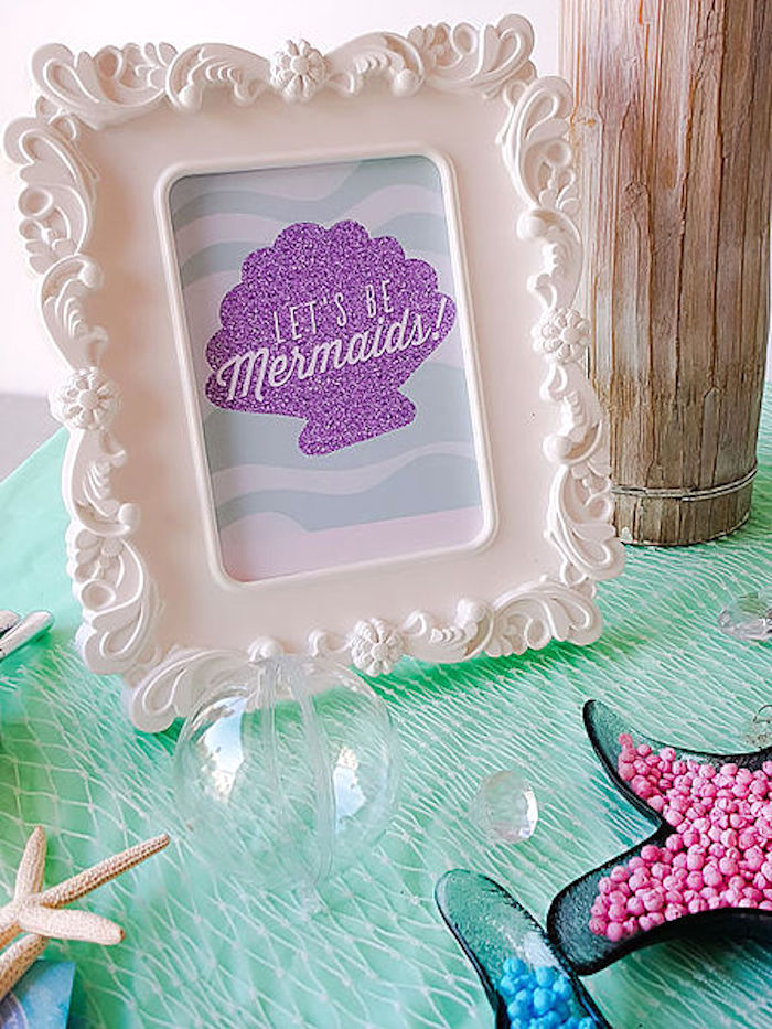 Seashell signage from a DIY Island Mermaid Birthday Party on Kara's Party Ideas | KarasPartyIdeas.com (6)
