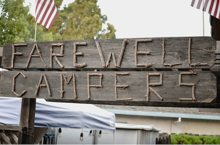 Wooden Farewell Sign from an End of Summer Retro Camping Party on Kara's Party Ideas | KarasPartyIdeas.com (27)