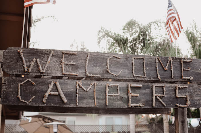Wooden Welcome Sign from an End of Summer Retro Camping Party on Kara's Party Ideas | KarasPartyIdeas.com (26)