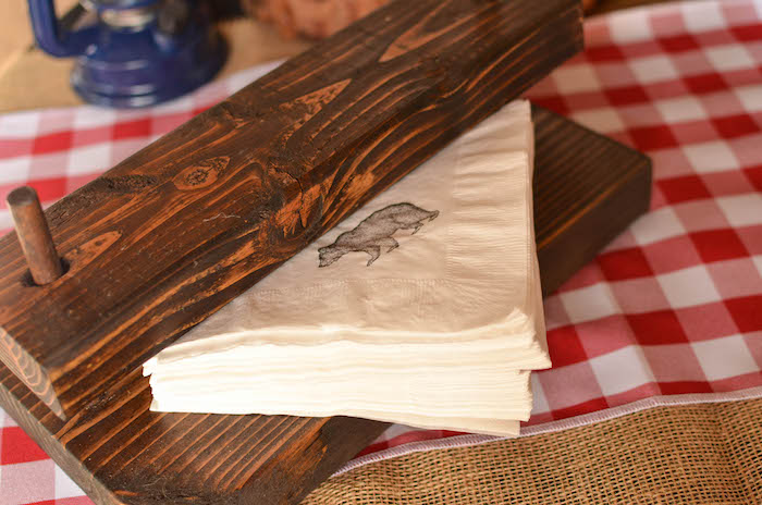 Bear stamped napkins from an End of Summer Retro Camping Party on Kara's Party Ideas | KarasPartyIdeas.com (43)