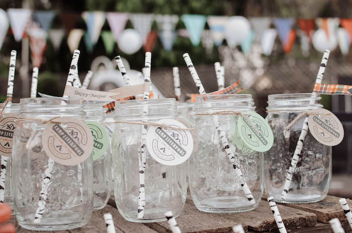 Mason jar drink cups from an End of Summer Retro Camping Party on Kara's Party Ideas | KarasPartyIdeas.com (24)