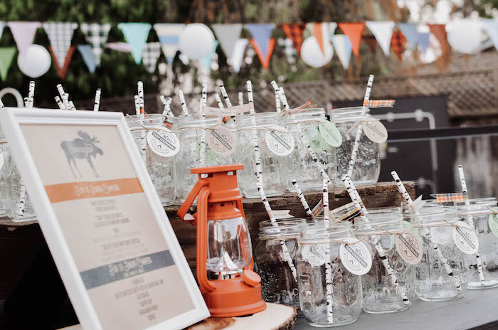Beverage bar from an End of Summer Retro Camping Party on Kara's Party Ideas   KarasPartyIdeas.com (23)