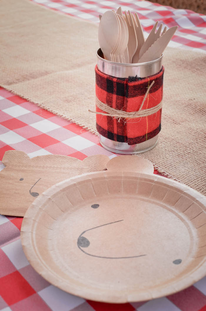 Bear place setting from an End of Summer Retro Camping Party on Kara's Party Ideas | KarasPartyIdeas.com (17)