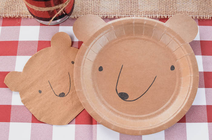 Bear plates and napkins from an End of Summer Retro Camping Party on Kara's Party Ideas | KarasPartyIdeas.com (16)
