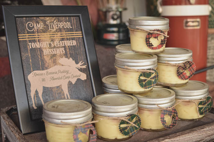 Banana pudding jars from an End of Summer Retro Camping Party on Kara's Party Ideas   KarasPartyIdeas.com (12)