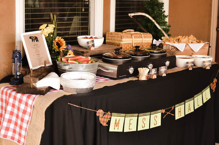 Mess Hall food table from an End of Summer Retro Camping Party on Kara's Party Ideas | KarasPartyIdeas.com (9)