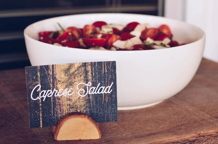 Caprese Salad with custom tree label from an End of Summer Retro Camping Party on Kara's Party Ideas | KarasPartyIdeas.com (7)