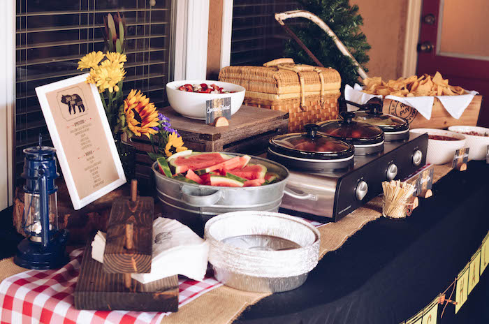 Mess Hall food table from an End of Summer Retro Camping Party on Kara's Party Ideas | KarasPartyIdeas.com (6)