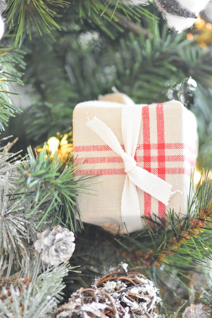 Primitive dish towel gift wrap. Farmhouse Christmas Tree | Modern Farmhouse Holiday Decorating 2018 | Kara's Party Ideas KarasPartyIdeas.com