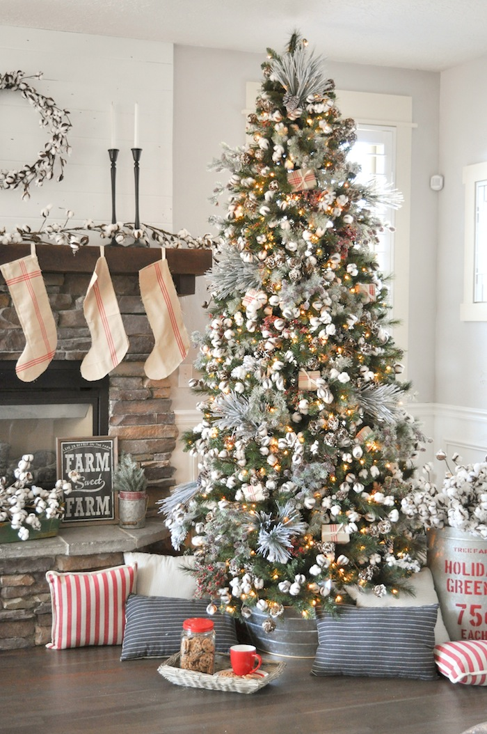 farmhouse christmas tree modern farmhouse holiday decorating 2018 karas party ideas karaspartyideascom - Farmhouse Christmas Tree Decorations