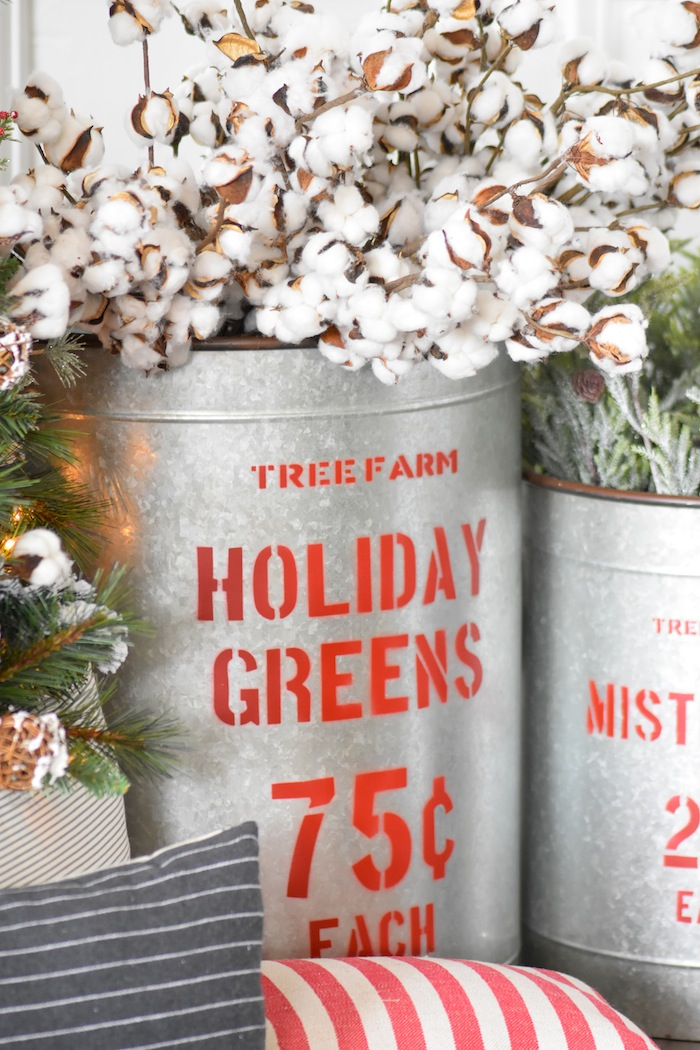 Cotton Stems in holiday greens bucket. Farmhouse Christmas Tree | Modern Farmhouse Holiday Decorating 2018 | Kara's Party Ideas KarasPartyIdeas.com