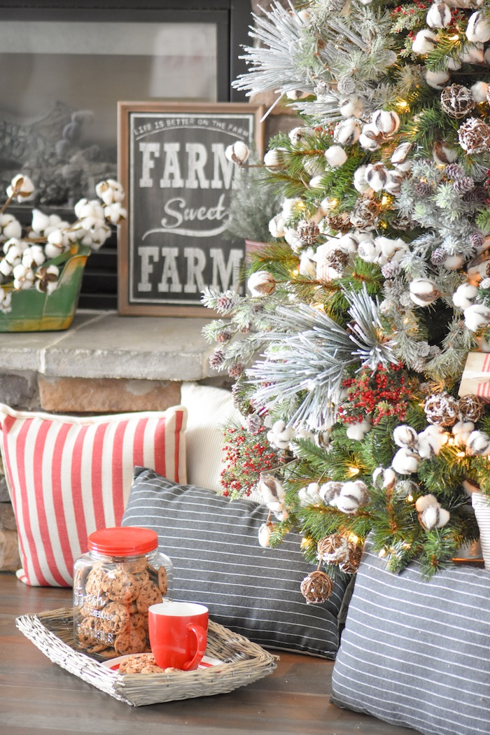Farmhouse pillows. Farmhouse Christmas Tree   Modern Farmhouse Holiday Decorating 2018   Kara's Party Ideas KarasPartyIdeas.com