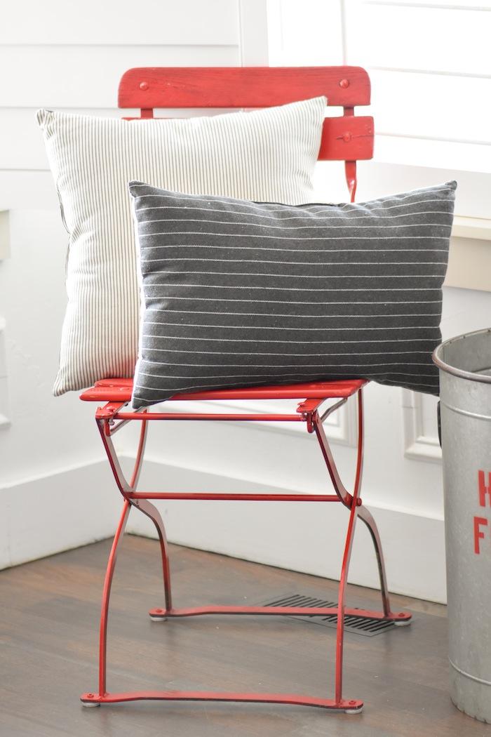 Pillows on Vintage Chair | Farmhouse Christmas Tree | Modern Farmhouse Holiday Decorating 2018 | Kara's Party Ideas KarasPartyIdeas.com