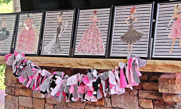 Fashion design prints & ribbon tassel garland from a Fashion Show Birthday Party on Kara's Party Ideas | KarasPartyIdeas.com (22)