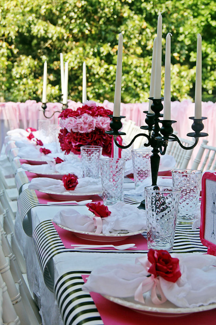 Guest table from a Fashion Show Birthday Party on Kara's Party Ideas | KarasPartyIdeas.com (21)