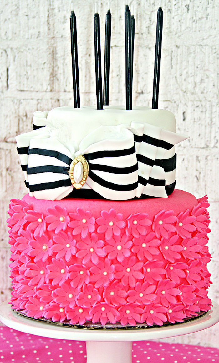 Pink & Black Fashion Cake from a Fashion Show Birthday Party on Kara's Party Ideas | KarasPartyIdeas.com (14)