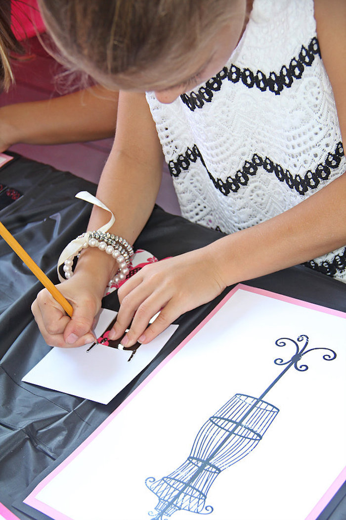 Fashion Design Activity from a Fashion Show Birthday Party on Kara's Party Ideas | KarasPartyIdeas.com (8)