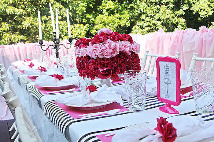 Guest tablescape from a Fashion Show Birthday Party on Kara's Party Ideas | KarasPartyIdeas.com (30)
