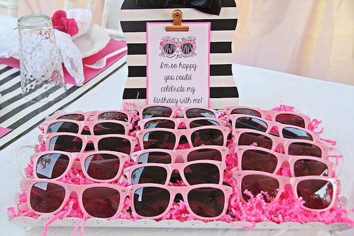 Pink sunglass favors from a Fashion Show Birthday Party on Kara's Party Ideas | KarasPartyIdeas.com (27)