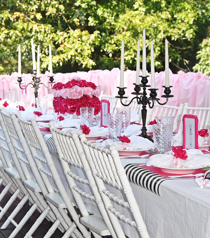 Guest table from a Fashion Show Birthday Party on Kara's Party Ideas | KarasPartyIdeas.com (26)