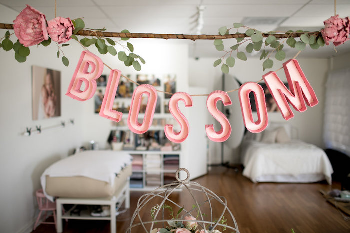 Blossom stick banner from a Floral Fall Baby Shower on Kara's Party Ideas | KarasPartyIdeas.com (19)