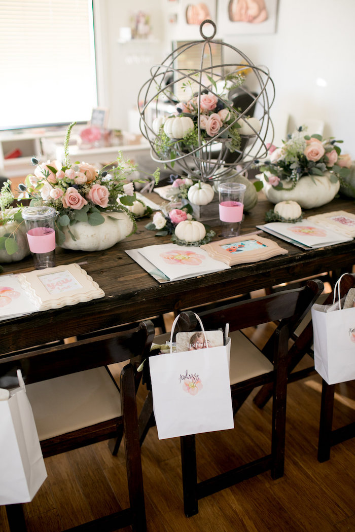 Guest table from a Floral Fall Baby Shower on Kara's Party Ideas | KarasPartyIdeas.com (14)
