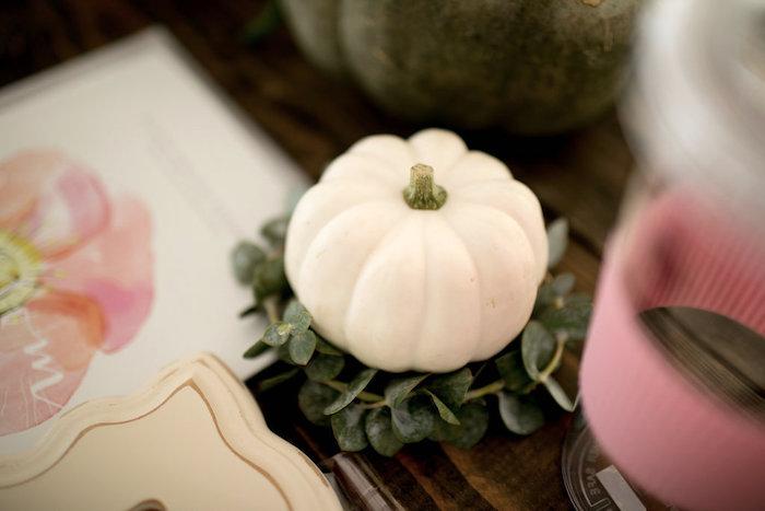 Pumpkin centerpiece from a Floral Fall Baby Shower on Kara's Party Ideas | KarasPartyIdeas.com (12)