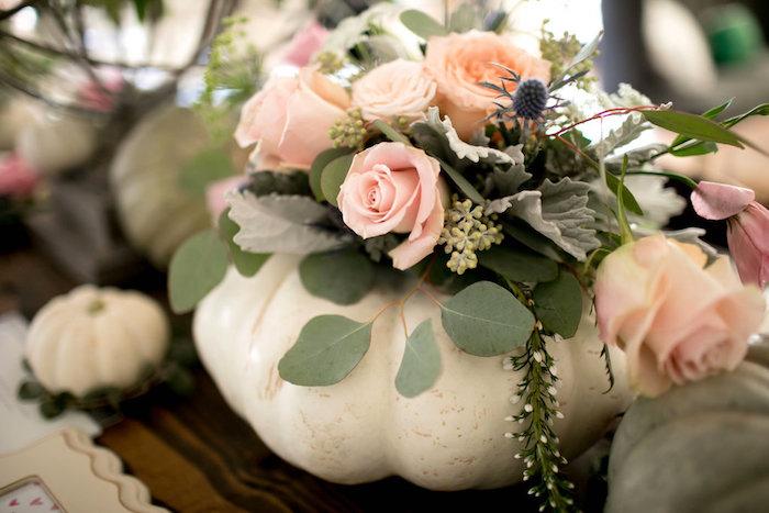Pumpkin flower arrangement from a Floral Fall Baby Shower on Kara's Party Ideas | KarasPartyIdeas.com (11)