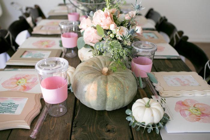 Pumpkin centerpiece + tablescape from a Floral Fall Baby Shower on Kara's Party Ideas | KarasPartyIdeas.com (29)