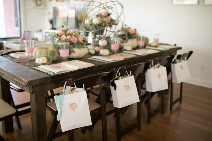 Guest table from a Floral Fall Baby Shower on Kara's Party Ideas | KarasPartyIdeas.com (5)