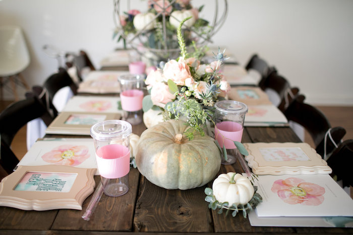 Pumpkin tablescape from a Floral Fall Baby Shower on Kara's Party Ideas | KarasPartyIdeas.com (28)