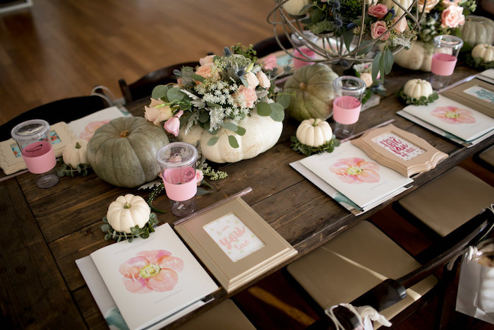 Guest tabletop from a Floral Fall Baby Shower on Kara's Party Ideas | KarasPartyIdeas.com (22)