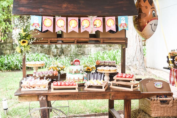Dessert table from a Floral Farm Birthday Party on Kara's Party Ideas | KarasPartyIdeas.com (15)