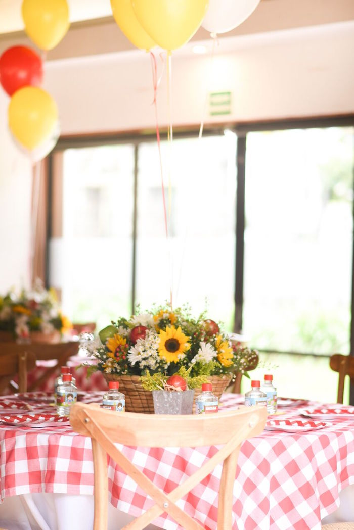 Guest table from a Floral Farm Birthday Party on Kara's Party Ideas | KarasPartyIdeas.com (11)