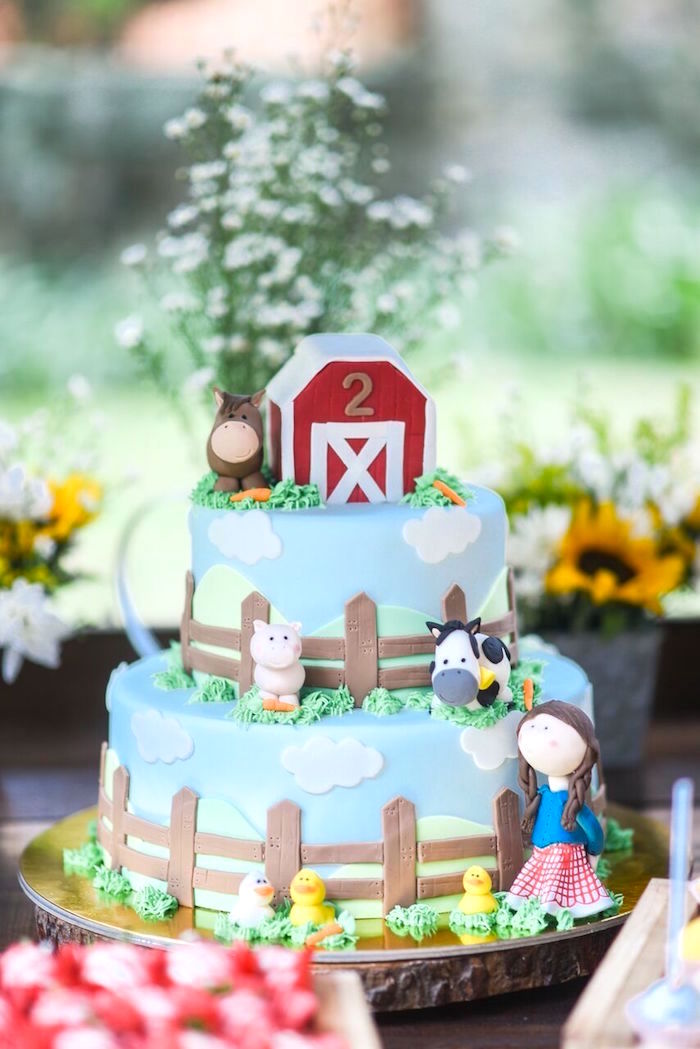 Farm cake from a Floral Farm Birthday Party on Kara's Party Ideas | KarasPartyIdeas.com (24)