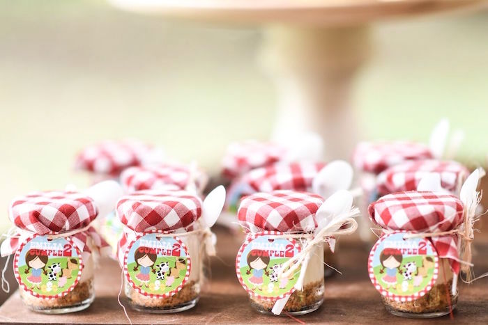 Mini cheesecake jars from a Floral Farm Birthday Party on Kara's Party Ideas | KarasPartyIdeas.com (23)