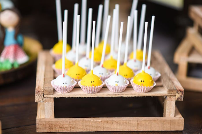 Chicken and chick cake pops from a Floral Farm Birthday Party on Kara's Party Ideas | KarasPartyIdeas.com (22)