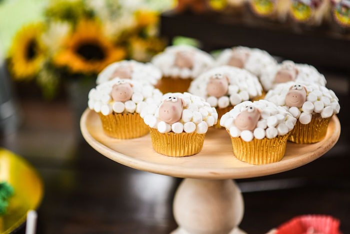 Sheep cupcakes from a Floral Farm Birthday Party on Kara's Party Ideas | KarasPartyIdeas.com (21)
