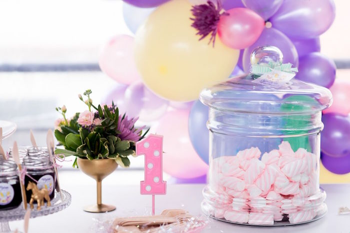Table details from a Floral Unicorn Birthday Party on Kara's Party Ideas | KarasPartyIdeas.com (24)