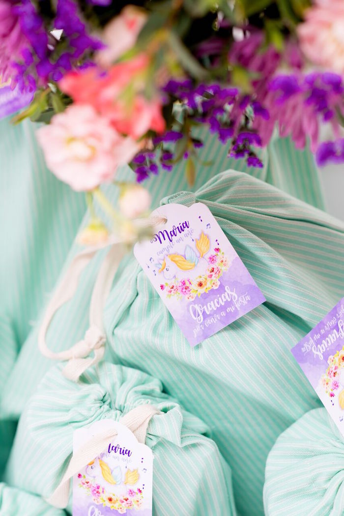 Favor bags from a Floral Unicorn Birthday Party on Kara's Party Ideas | KarasPartyIdeas.com (23)