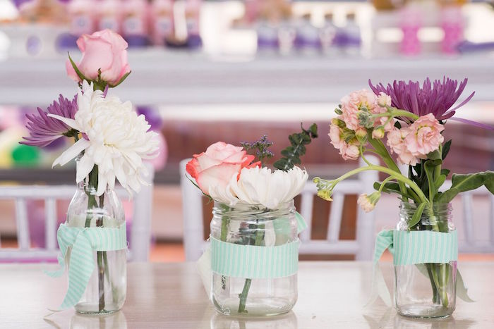 Mason jar blooms from a Floral Unicorn Birthday Party on Kara's Party Ideas | KarasPartyIdeas.com (21)