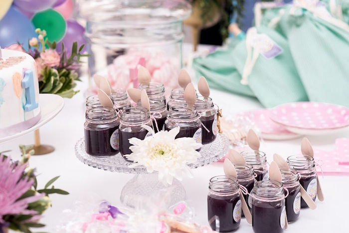 Jelly jars from a Floral Unicorn Birthday Party on Kara's Party Ideas | KarasPartyIdeas.com (20)